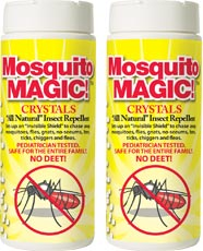 Mosquito Magic Crystals 2 Pack! Shake the crystals out over an outdoor area to create a flying pest free zone!