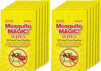 Mosquito Magic Wipes 12 Pack! The perfect pest protection solution for the family on the go!